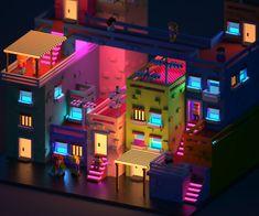 Voxel city - Voxel art on Behance