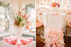 Carneros Inn bridesmaid brunch in sherbet peach, pink, coral and white. Curly willow chair covers from Wildflower linens. Photo: www.brianamariephotography.com Fleurs de France  www.fleursfrance.com