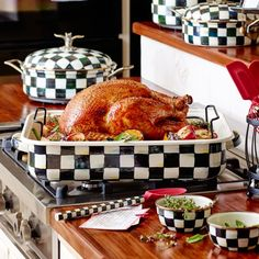 Thanksgiving is now complete. MacKenzie-Childs - Courtly Check Enamel Roasting Pan with Rack