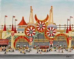 Luna Park Vestie Davis, New York City 1964 Oil on canvas 16 x Collection American Folk Art Museum, New York Bequest of Gloria Bley Miller, Photo by Gavin Ashworth Circus Art, Museum Displays, Carnival Themes, Naive Art, Outsider Art, Box Art, Art Google, Art Museum, Art Projects