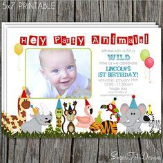 Zoo, Jungle Safari Themed, Party Animals Birthday Invitation - Printable. $12.00, via Etsy.