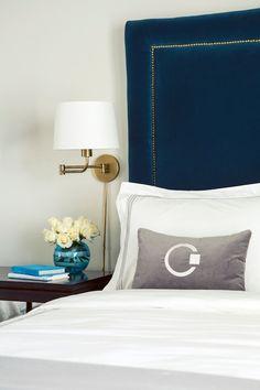 Tobi Fairley - bedrooms - chic bedroom, peacock blue bedroom, peacock blue, peacock blue headboard, velvet headboard, nailhead trim headboar...