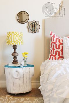 Spray Painted Tree Stumps Turned Side Tables -