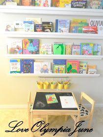 Playroom rain gutter bookshelves, chalkboard table, bucket art organizers- chalkboard painted table top