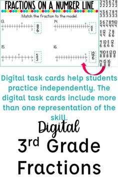 Looking for independent activities for your students to practice the 3rd grade fractions standards? These digital resources walk students through an interactive lesson, include digital task cards, and an easy grade formative assessment. Skills included are introducing fractions, fractions of a shape, fractions on a number line, fractions greater than one, equivalent fractions, whole numbers as fractions, and comparing fractions. Teaching fractions with digital centers has never been easier! Introduction To Fractions, Introducing Fractions, Comparing Fractions, Teaching Fractions, Equivalent Fractions, Fraction Activities, Kids Math Worksheets, Math Resources, Third Grade Reading
