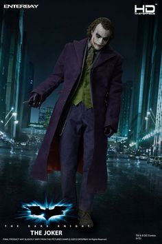 """Enterbay is proud to present the first-ever high-end action figure in the 1/4-Scale, allowing all Batman collectors to experience another level of excitement! The Dark Knight is the acclaimed sequel to Batman Begins, and Christian Bale's Batman must fight against a criminal mastermind called """"The #Joker,"""" portrayed by Heath Ledger. The Joker is possibly the most popular super villain of all time, and Ledger received numerous accolades for his acclaimed portrayal."""