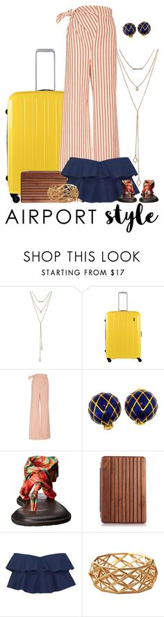 """""""Airport Style"""" by janastasiagg ❤ liked on Polyvore featuring SUGARFIX by BaubleBar, Lojel, Rosie Assoulin, David Webb, sanuk and airportstyle"""