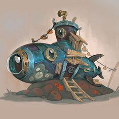 Submarine, Charlène Le Scanff (AKA Catell-Ruz) on ArtStation at https://www.artstation.com/artwork/1ymw3