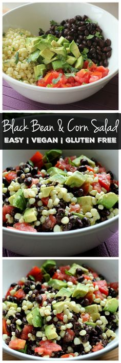 Looking for an easy salad recipe? This black bean and corn salad is filling and delicious! Plus it's gluten free and vegan. If you love avocado, you'll love this salad!
