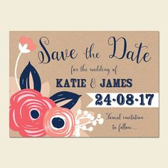 25 Navy and Coral Wedding Save the Dates Navy by papertreemedia