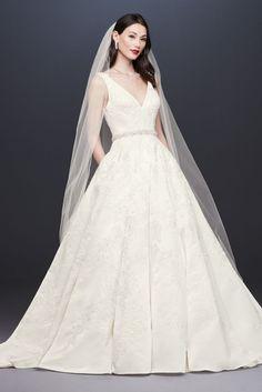 eb9faab8ec2 Oleg Cassini Satin Lace Strapless Wedding Dress Style CWG594