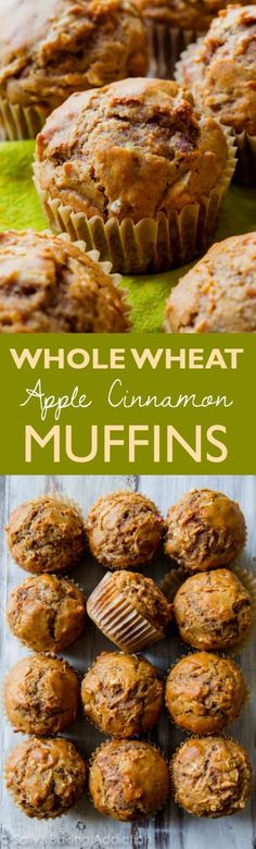 Healthy, simple, AMAZING whole wheat apple cinnamon muffins with zero refined sugar. Find this easy muffin recipe on sallysbakingaddiction.com