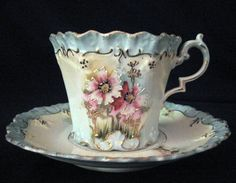 R.S. Prussia Fine Porcelain Teacup and Saucer