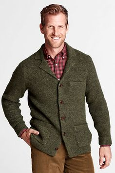 Men's Tweed Notch Collar Cardigan Sweater from Lands' End