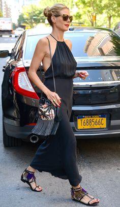 Heidi Klum in a White House Black Market halter asymmetric soft dress, $89.99; whitehouseblackmarket.com + fringe bag and shoes #Fashion