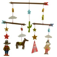 BOYS COWBOYS & INDIANS WOODEN MOBILE