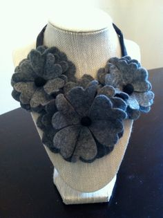 Flower Felt Necklace by ChicLillyPod on Etsy, $20.00
