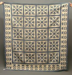"So graphic!! ~ 19th c. blue and white oak leaf quilt. 84"" x 79"""