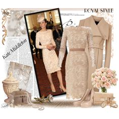 """Kate Middleton - Royal Style Winter Beige"" by of-simple-things on Polyvore"