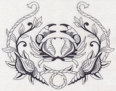 Crab and Seashell Laurel design (M3596) from www.Emblibrary.com