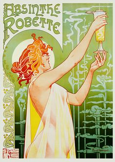 French Absinthe Robette by Privat Livemont Art Nouveau. By Privat-Livemont