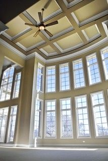 Two story great room window treatments grand two story family room family room chicago for 2 story family room window treatments