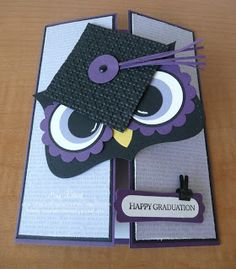 Happy Graduation Card for Abby's college Graduation Cards Handmade, Graduation Greetings, Handmade Cards, Owl Card, Card Card, Punch Art Cards, Kids Cards, Baby Cards, Creative Cards