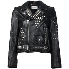 Saint Laurent Classic Motorcycle Jacket (£4,575) ❤ liked on Polyvore featuring outerwear, jackets, black, moto jacket, collar jacket, genuine leather jackets, straight jacket and motorcycle jackets