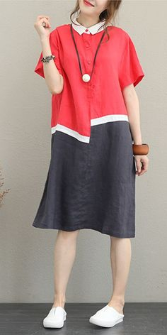 Vintage Loose Quilted Linen Dresses Women Casual Clothes - Women's style: Patterns of sustainability Linen Pants Women, Pants For Women, Casual Dresses For Women, Casual Clothes, Mode Alternative, Mode Hijab, Linen Dresses, Maxi Dresses, Linen Shorts