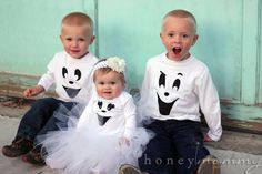 DIY Easy Ghost Costumes DIY Halloween DIY Costume... White tutu for girls and black pants for boys, perfect!