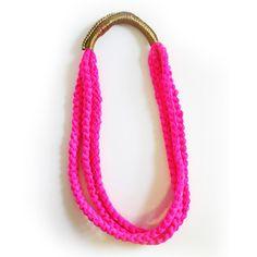 Necklace Neon Fuchsia slip stitch