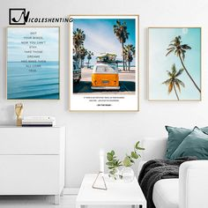 Tropical Sea Palm tree Bus Landscape Wall Art Canvas Poster Nordic Motivational Prints Painting Wall Picture for Living Room Wall Decor Pictures, Decorating With Pictures, Living Room Pictures, Pictures To Paint, Tree Canvas, Canvas Wall Art, Wall Art Prints, Canvas Prints, Images Murales