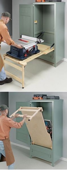 Space-Saving Drop-Down Table Saw Cabinet #WoodworkingPlansWorkbench