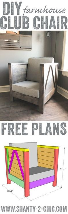 DIY Farmhouse Club Chair - Free Plans & How To Video - Shanty 2 Chic - need to make Home Projects, Diy Furniture, Farmhouse Diy, Furniture Plans, Club Chairs, Diy Design, Home Decor, Home Diy, Woodworking Projects