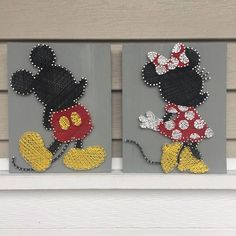 Know a Disney fan that loves both Mickey & Minnie Mouse? This listing is for two string art signs. One sign is of Mickey Mouse and one of Minnie Mouse. Save by buying both together! Disney Diy, Art Disney, Disney Kunst, Disney Crafts, Disney String Art, String Art Diy, String Crafts, String Art Templates, String Art Patterns