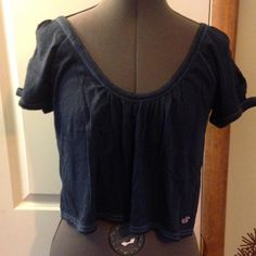 Hollister crop top size medium see through sleeves Hollister crop top size medium with see through sleeves as shown in the second photo Tops
