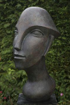 Bronze-resin #sculpture by #sculptor Beatrice Hoffman titled: 'Racerman (Bronze resin abstract Head sculptures)'. #BeatriceHoffman