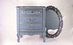 French Provincial End Table and Mirror Old violet