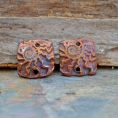 Ammonite Squares in Copper, Earring Components by KristiBowmanDesign on Etsy, $12.00