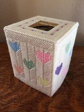 Handmade Needlepoint Plastic Canvas Tissue Box Cover - Pastel Hearts Plastic Canvas Tissue Boxes, Plastic Canvas Crafts, Plastic Canvas Patterns, Tissue Box Holder, Tissue Box Covers, Plastic Mesh, Kleenex Box, Box Patterns, Plastic Canvas Christmas