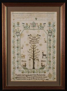 A Charming 19th Century Sampler by Doce Elliott worked with Adam & Eve flanking the Tree of Life below Biblical revelation; 'Be faithful until death, and I will give you the crown of life' bordered by undulating stems of rose buds and red currants above an excerpt from Milton's Paradise Lost, 20 in x 13 in (51 cm x 33 cm).