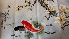 Original Chinese Koi Fish Art and Flower Painting : Chinese Calligraphy Art for Sale Online Chinese Calligraphy, Calligraphy Art, Art For Sale Online, Engraved Gifts, Fish Art, Chinese Painting, Beautiful Artwork, Asian Art, Koi