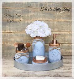 Mason Jar Bathroom Set-Farmhouse Bathroom Set-Galvanized Tray-Bathroom Decor-Wedding Gifts-Oil Rubbed Bronze Soap Dispenser-Vintage Decor by EandSlittleShop on Etsy