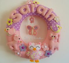 This would be neat to try and make Name Crafts, Felt Crafts, Diy Crafts, Owl Fabric, Owl Bird, Felt Patterns, Minion, Baby Shower, Wreaths