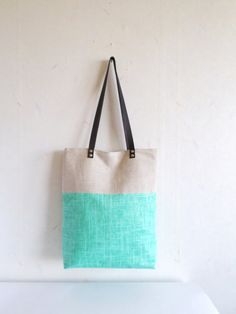 Green tote canvas tote bag leather handles colorblock by allbyFEDI