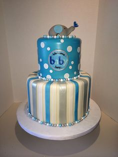 Baby shower cake boy #blue and silver cake #elephant cake