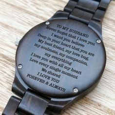 Engraved Wooden Watch – Great Gift For Your Husband – Forever Love Gifts Relógio de madeira gravado – grande presente para seu marido – amor para sempre … Perfect Gift For Boyfriend, Boyfriend Gifts, Love Gifts, Great Gifts, Diy Gifts, Gifts For Fiance, I Love You Forever, Wooden Watch, Diy