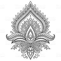 Tatouage au henné fleur modèle dans le style indien. Motif Paisley ethnique Lotus. stock vecteur libres de droits libre de droits