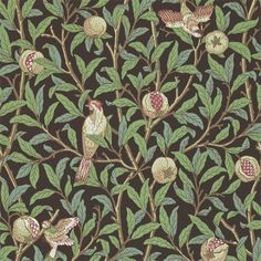 The Original Morris & Co - Arts and crafts, fabrics and wallpaper designs by William Morris & Company | Products | British/UK Fabrics and Wallpapers | Bird & Pomegranate (DARW212537) | Archive II Wallpapers
