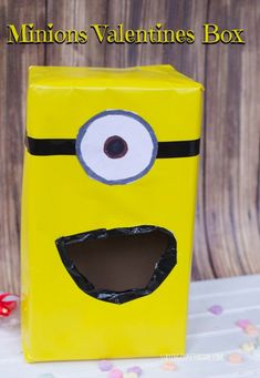 Easy Tutorial to make a Minions Valentines Day Card Box for School Valentine's Day Box